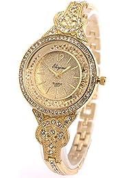 SIBOSUN Lady Women Wrist Watch Quartz Gold Stainless Steel Crystal Dress Fashion Bracelet