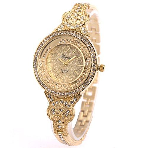 Frau Frauen Armbanduhr Quarz Gold Edelstahl Band SIBOSUN Kristall römische Ziffern Analoge (1.Gold,JXQ122) (Heiß Mädchen Wirklich Schule)