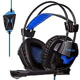 PS4 Kopfhörer Stereo Gaming Headset mit Mikrofon In-line Lautstärkeregler für PS4 Xbox One PC Tablet Smartphone Blau