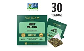 Mint Green Tea, 30 Pyramid Tea Bags - Long Leaf Green Tea Leaves from Himalayas Blended with 100% Natural Spearmint & Peppermint Leaves - Garden Fresh Mint Tea (2 Boxes, 15 Tea Bags Each)