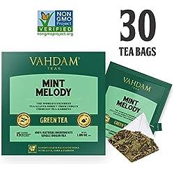 Thé Vert à La Menthe, 30 Sachets De Thé Pyramid - Feuilles De Thé Vert à Longues Feuilles De l'Himalaya Mélangées à 100% De Feuilles De Menthe Verte Et De Menthe Poivrée Naturelles