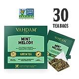 Grüner Minze Tee, 30 Pyramiden-Teebeutel - Long Leaf Grüne Teeblätter aus dem Himalaya gemischt mit 100 % NATÜRLICHER Minze & Pfefferminzblätter - Gartenfrischer Minztee (2 Boxen, je 15 Teebeutel)