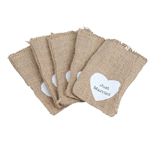 essian Bags 10pcs Rustic Wedding Favor Burlap Bags(Just Married) (Small Favor Boxen)