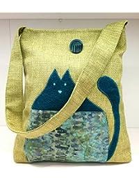 62231187eb Borsa Shopper con gatto azzurro - batik Klimt su canapone verde acido