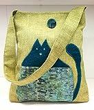 shopper - Schultertasche mit blauem Katzen - Klimt BATIK - handmade in Italy