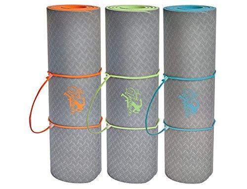 Yogamatte / Gymnastikmatte / Maße: 183x61x1cm / 100% ökologisches TPE / schadstofffrei / Inclusive 3 Jahren Garantie / extra dick: 10mm / BONUS:...