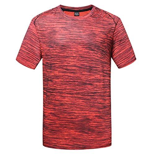 Shangqi Herren T-Shirt atmungsaktives Sportshirt kurzärmliges und schnelltrocknendes Trainingsshirt mit enganliegender Passform T-Shirt atmungsaktiv Trainingsshirt Kurze Ärmel Herren Fitnessshirt - Racerback Henley Tank
