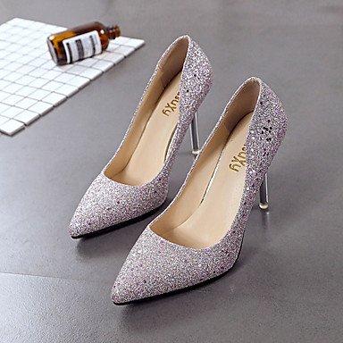 zhENfu Donna sandali di gomma Comfort estate passeggiate all'aperto Comfort fibbia Stiletto Heel Champagne nero argento sotto 1in Champagne