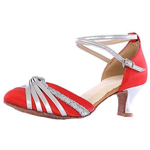 Oasap Women's Cross Strap Pointed Toe Latin Dance Shoes Fuchsia-3