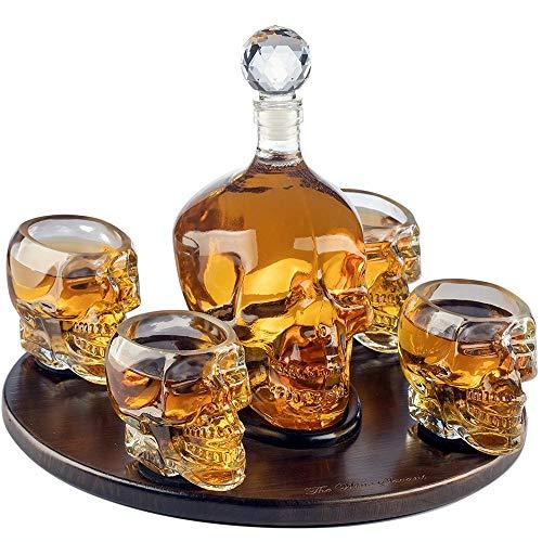 BQT Weißwein-Dekanter, Scotch Whisky Skull Face-Dekanter, 1000ML mit 4 Skull-Schnapsgläsern...