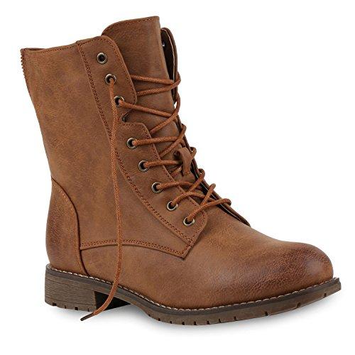Damen Schnürstiefeletten Profilsohle Boots Camouflage Stiefeletten Leder-Optik Schnür Übergrößen Schuhe 121964 Braun Camargo 36 Flandell