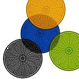 iddomum Silikon hitzebeständiger Untersetzer(4er Set), Multifunktional Topfuntersetzer Topflappen 20 cm Durchmesser Spülmaschinenfest(Bunt)