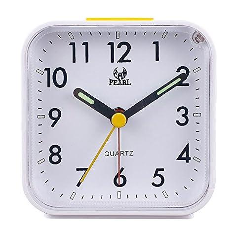 Pingenaneer 3 Zoll Kleiner Wecker Stille Glockenwecker Analog Quarzwecker Klassisch Tischuhren mit Nachtlicht, Lauter Alarm , Ohne Ticken , Schlummerfunktion , Batteriebetrieben---Weiß