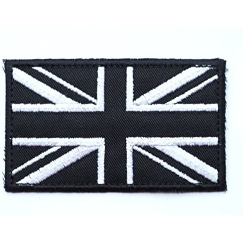 Lot of 2 UK GREAT BRITAIN FLAG UNION JACK SUBDUED BLACK-WHITE GB BIKER EMBROIDERED PATCHES