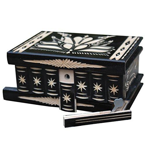Geschnitzt aus Holz Mystery Puzzle Trinket Pandora Box Jewelry Halterung mit Geheimfach Schwarz