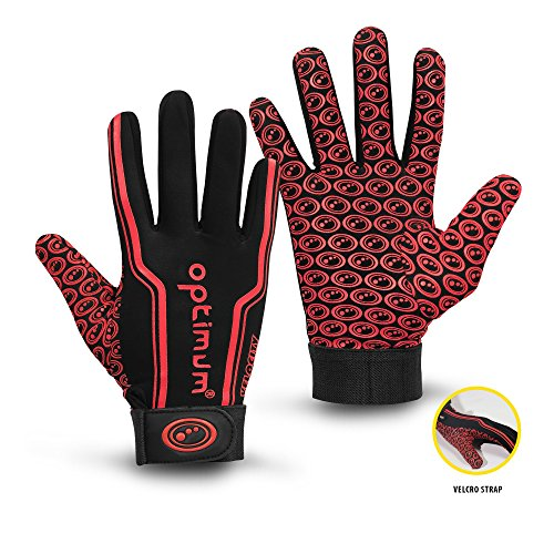 OPTIMUM Unisex-Adult Senior Velocity Rugbyhandschuhe, Schwarz/Rot, Large, red