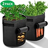 Ankier Potato Growing Bags, 2 pack 7 Gallon Vegetable Grow Bags Planter Container with Hook & Loop Window and Strap Handles  Nonwoven Garden Plant Bags for Various Vegetables and Flower