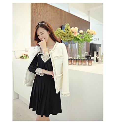 BININBOX Damen Jacke Mantel Tweed Perlen mit Langarm Umlegkragen Silm Fit Dünn Frühling Sommer Schwarz Weiß