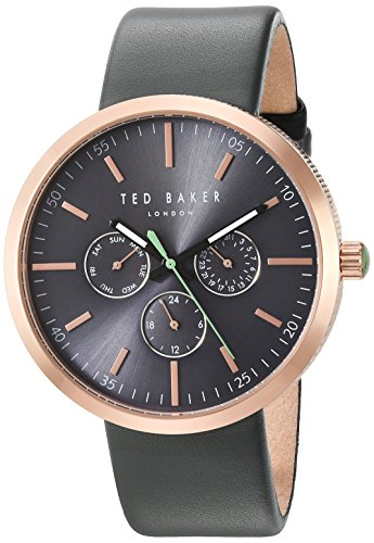 Ted Baker Men's 'JACK' Quartz Stainless Steel and Leather Dress Watch, Color:Grey (Model: 10031503)