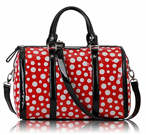 LeahWard® Damen Niedlich Mode Dot Taschen Handtaschen Essener Chic Qualität Tasche LS0069 (Rot Dot) (Tote Dot Polka Handtasche)