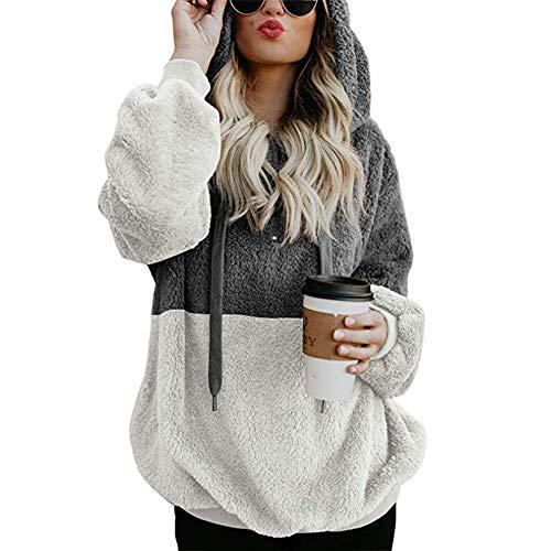 diffstyle Damen Fleece-Kapuzenpullover mit 1/4-Reißverschluss, flauschig, mit Kapuze, in 5 Farben erhältlich - Grau - Groß -