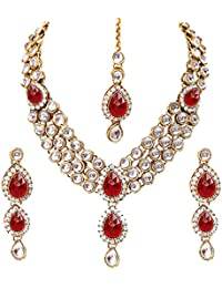 Lucky Jewellery Traditional Gold Plated Kundan Necklace Set For Girl & Women