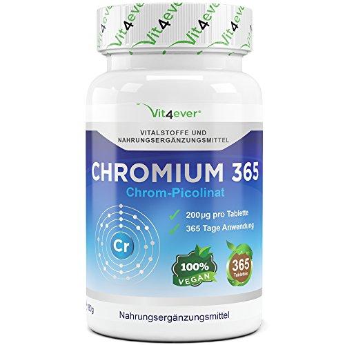 Chromium Picolinate - 365 Tabletten - 200mcg - Täglich 1 Tablette Chrom - vegane Tabletten - Hohe Bioverfügbarkeit - Chrompicolinat - Premium Qualität - Vit4ever (Tabletten Chrom)
