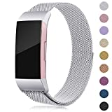 Onedream Kompatibel für Fitbit Charge 3 Armband Damen Herren Metall Edelstahl Ersatzarmband Silber Small