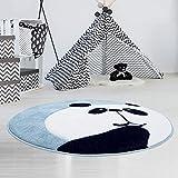 carpet city Kinderteppich Hochwertig mit Panda-Bär in Pastell-Türkis mit Konturenschnitt, Glanzgarn für Kinderzimmer Größe 160/160 cm Rund