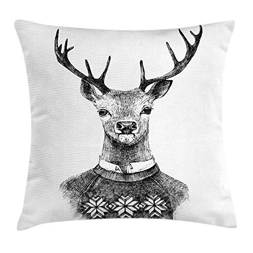 Indie Throw Pillow Cushion Cover, Hand Drawn Deer Portrait in a Nordic Style Knitted Sweater Hipster Christmas, Decorative Square Accent Pillow Case, 18 X 18 inches, Charcoal Grey White - Accent Sweater