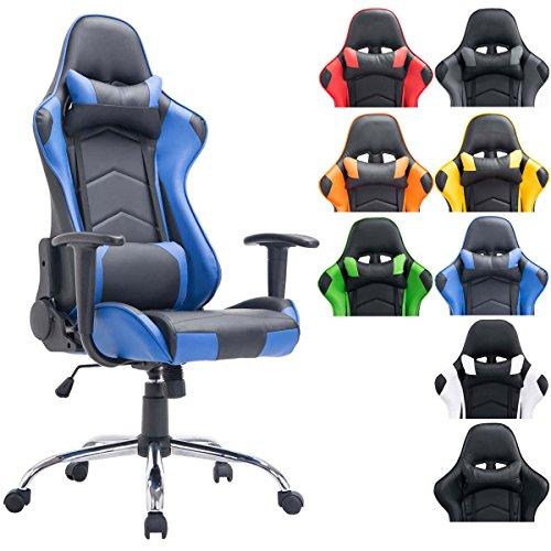 CLP XL Gaming Stuhl, Bürostuhl MIRACLE, belastbar bis 150 kg, höhenverstellbar 48 - 58 cm, mit Armlehne schwarz/blau