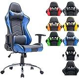 CLP Silla de oficina XXL MIRACLE, silla gaming tapizada en piel sintética, regulable en altura entre los 48 - 58 cm, respaldo reclinable y con diseño deportivo, capacidad hasta 150Kg negro/azul