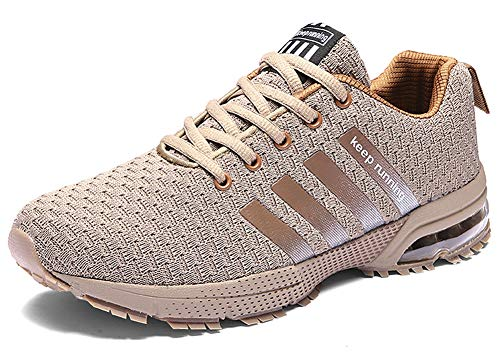 Chaussures de Sport Homme Femme Plein Air Sneakers Casual Respirantes Shoes - pour Running Trail Entraînement Course Gym Fitness Jogging(Marron,40)