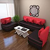 #9: Bharat Lifestyle Butterfly Five Seater Sofa Set 3-1-1 (Red)