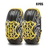 Universal Schneeketten Gelb Einfach zu montieren Reifen Schneekette 6-teiliges Set für Auto, SUV, LKW mit 165-275mm Reifen Breite