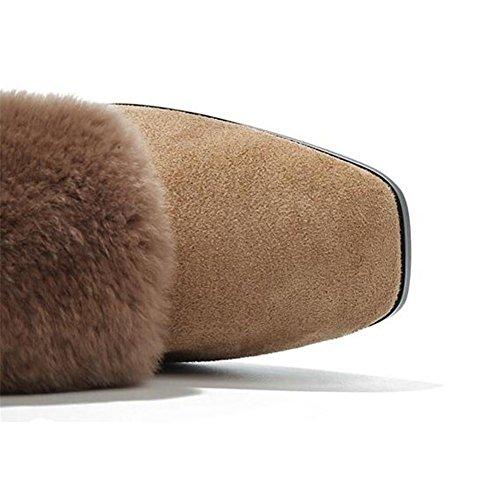 fourrure Chaussures Toe Flâneurs Hiver en Bloquer 35To43 Taille talon femmes khaki le pour Square Doublure qwTpPrHq