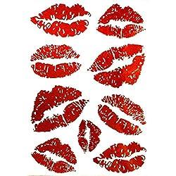EROSPA® Tattoo-Bogen / Sticker temporär - Rote Lippen / Kußmund - 15,5 x 11 cm