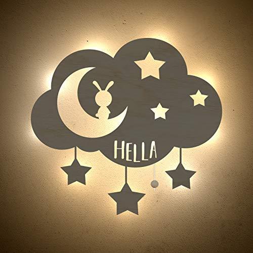 Nachtlicht Wolke, Mond & Sterne Kinderzimmer-Lampe/Tauf-Geschenk oder zur Geburt/Personalisiert mit Wunsch-Name für Mädchen oder Jungen Schlummerleuchte Babyzimmer Stilleuchte [Energieklasse A++]