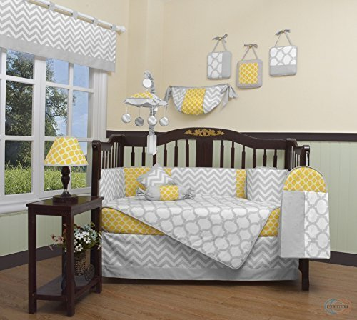 GEENNY Boutique Baby 13-teiliges Bettwäsche Set für Wiege, gelb/grau Chevron von GEENNY - Chevron Baby-bettwäsche-sets