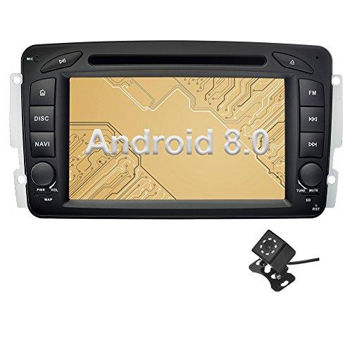 Ohok 7 Zoll Bildschirm 2 Din Autoradio Android 8.0.0 Oreo Radio mit Navi DVD GPS Navigation Unterstützt Bluetooth DAB+ für Mercedes-Benz C Class/CLK/A-Class mit Klein-Rückfahrkamera - Benz Verstärker Mercedes