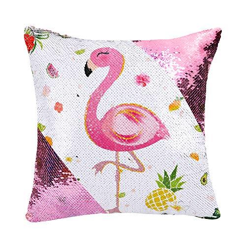 WERNNSAI Funda de Cojín Flamingo - 40 x 40 cm Fundas Cojines de Lentejuelas Rosadas Cuadradas Flores...
