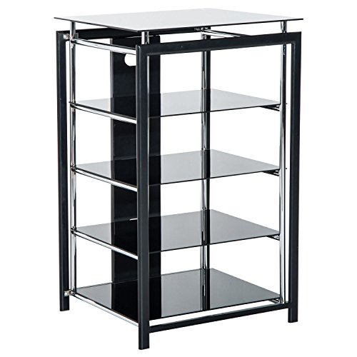 Homcom HiFi Rack TV-Turm Regal Ständer Phonomöbel aus Metall Hartglas Schwarz (Regal Audio-rack 4)