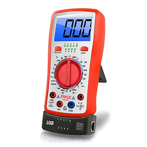 Pyle PLTM40 Digitalmultimeter für Hintergrundbeleuchtetes LCD mit AC, DC, Volt, Strom, Widerstand, Transistor und Messbereich, gelb -