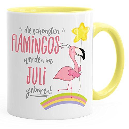MoonWorks Geschenk-Tasse die schönsten Flamingos Werden im Juli geboren Geburtstags-Tasse Geburtstmonat Wunschmonat Kaffee-Tasse hellgelb Unisize