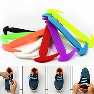 IGEMY 12Pcs Novelty Unisex No Tie Shoelaces Silicone Elastic Sneaker Lazy Shoe Laces (Random)
