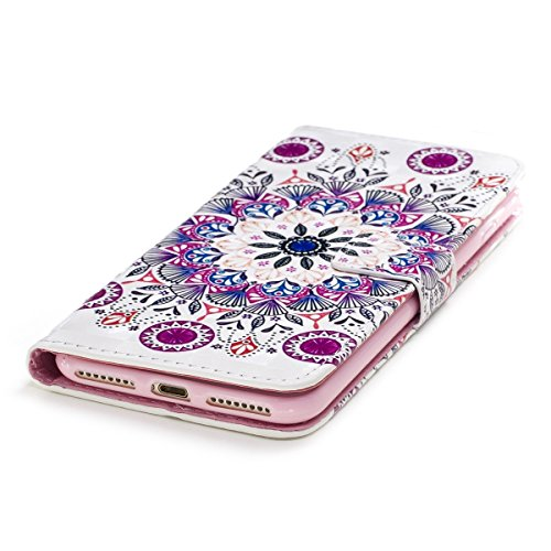 EUWLY Custodia per [iPhone 7 Plus/iPhone 8 Plus (5.5)], 3D Bling Bling PU Pelle Portafoglio Case per iPhone 7 Plus/iPhone 8 Plus (5.5), Flip Stand Bookstyle PU Leather Wallet Cover Fashion Elegante  Mandala Fiore