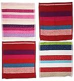 Ilkadim 8 Stück Waschlappen 100% Baumwolle, 28 x 28cm, gestreift bunt