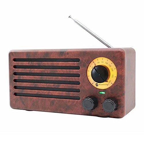 Radio portátil Jerry Rat Radio retro / Radio rotativa / Radio nostálgica de FM / Radio FM Audio de alta definición con Bluetooth para conectar de forma inalámbrica teléfonos inteligentes, tabletas y reproductores de mp3 (Efecto de grano de madera / Nogal)