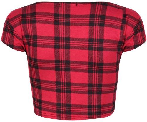 Aztèque Pour Femmes écossais Crâne Rayure Bd imprimé femmes Rond Encolure Ronde Mancheron Court T-Shirt Ventre Haut Écossais rouge