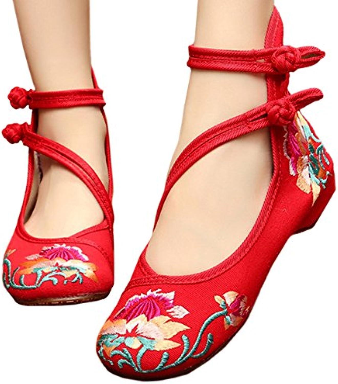 Bonitos y Elegantes Zapatos Bordados de Lotus con Oblicua Rojo